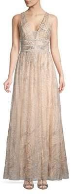 Blondie Nites Glitter Mesh Sleeveless Evening Gown