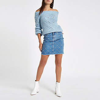 River Island Mid blue stud embellished denim mini skirt