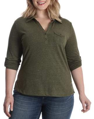 Lee Riders Women's Plus Heathered Knit Polo