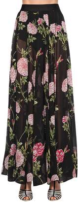 Giambattista Valli Long Floral Print Silk Georgette Skirt