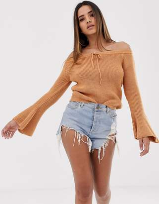 Asos Design DESIGN off shoulder sweater with flared sleeve