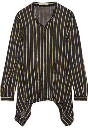 Etro - Striped Silk-blend Chiffon Shirt - Black $800 thestylecure.com