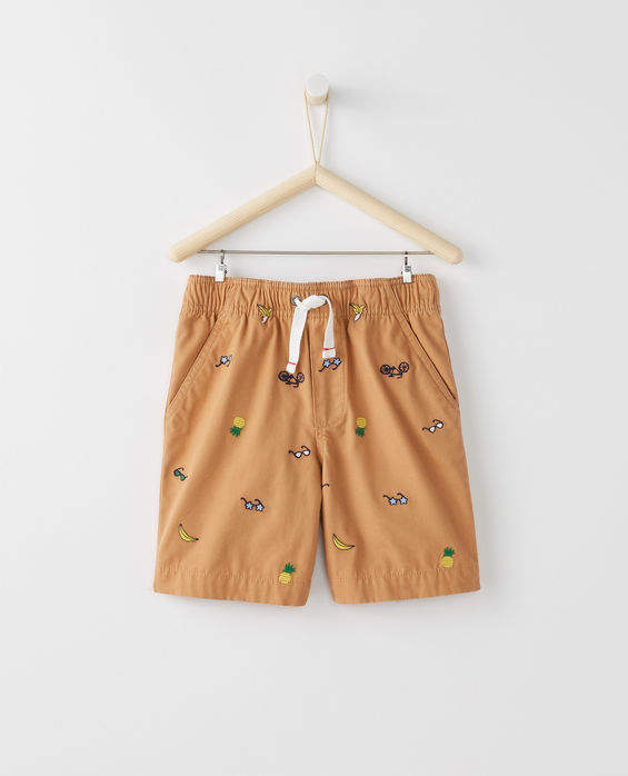 Embroidered Canvas Shorts
