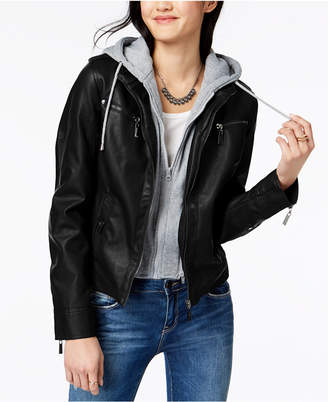 Joujou Jou Jou Juniors' Hooded Faux-Leather Moto Jacket