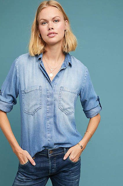 Cloth & Stone Split-Back Chambray Buttondown