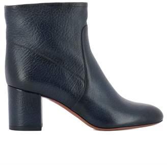 Santoni Blue Leather Ankle Boots
