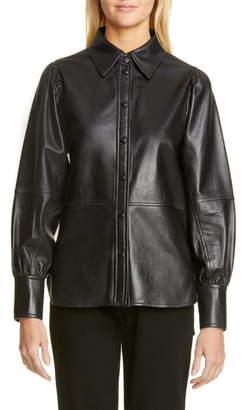 Ganni Lambskin Leather Shirt