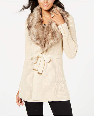 Thalia Sodi Faux-Fur Embellished Cardigan
