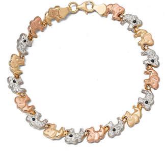 FINE JEWELRY Tri-Color Crystal 14K Gold Over Sterling Silver Elephant Stampato Bracelet