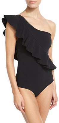 Chiara Boni Atlante One-Shoulder Ruffle Swimsuit