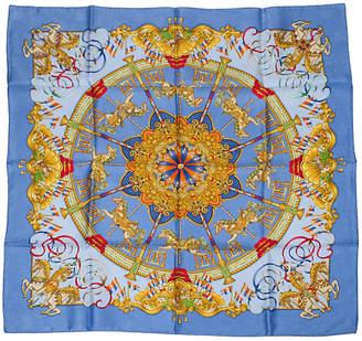 One Kings Lane Vintage HermAs Luna Park Blue Scarf - Metz - Vintage Lux