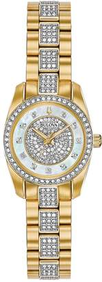 Bulova Women's Crystal Analog Quartz Swarovski Crystal Accented Bracelet Watch, 23.5mm