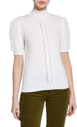 See by Chloe Short-Sleeve Knit Top with Ruffle Trim
