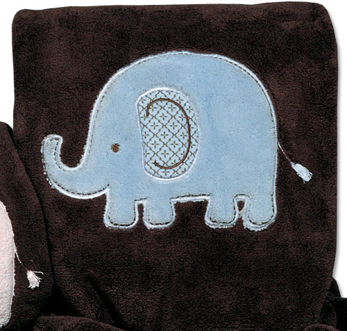 Carter's Everyday Easy Blanket - Brown with Blue Elephant