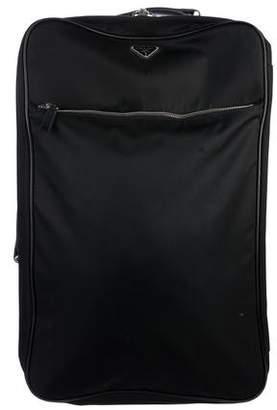 Prada Saffiano-Trimmed Tessuto Suitcase