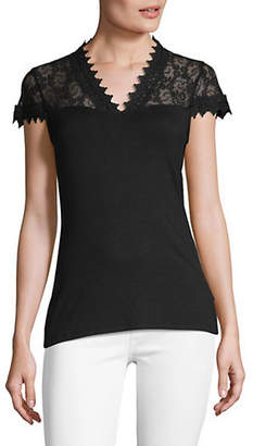 INC International Concepts Short-Sleeve Lace Top