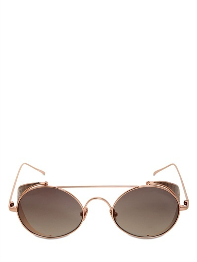 Rounded Watersnake & Metal Sunglasses