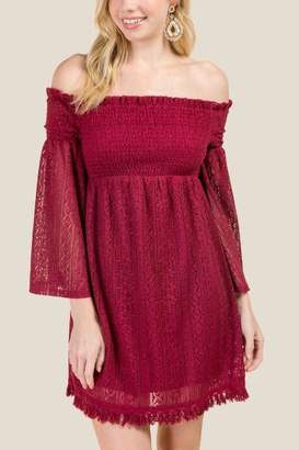 Eliza Off Shoulder Lace Dress - Burgundy