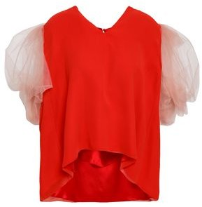 DELPOZO Gathered Tulle And Silk-chiffon Top