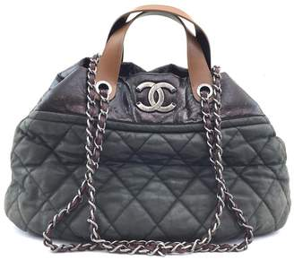Chanel Hobo Cc Two Way Bowler Quilted Green Black Leather Shoulder Bag