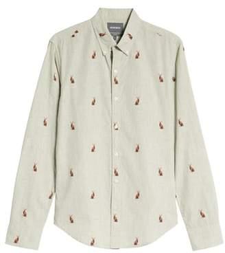 Bonobos Washed Button Down Slim Fit Rabbit Print Sport Shirt