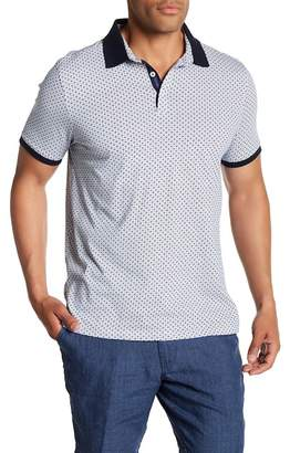 Toscano Short Sleeve Micro Square Print Polo
