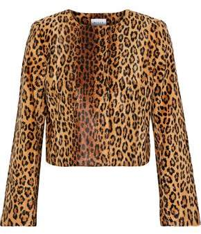 Milly Cropped Leopard-Print Faux Fur Jacket