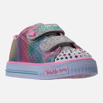 Skechers Girls' Toddler Twinkle Toes: Shuffles - Ms. Mermaid Light-Up Casual Shoes