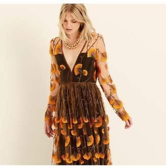 Amanda Wakeley Feather Embroidery Long Sleeve Maxi Dress