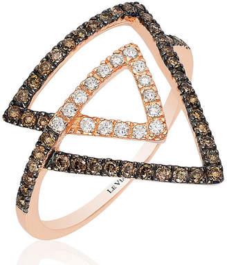 Le Vian Chocolatier LEVIAN CORP Grand Sample Sale by Chocolate & Vanilla Diamonds Ring in 14k Strawberry Gold