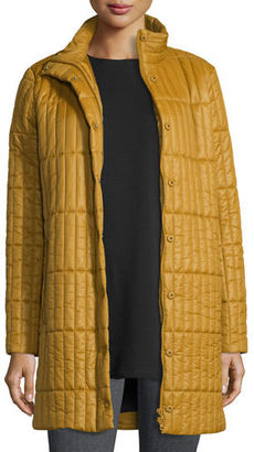 Eileen Fisher Quilted Nylon Knee-Length Coat, Petite $438 thestylecure.com