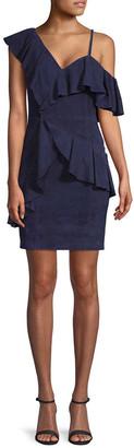 Alice + Olivia Suede One-Shoulder Ruffle Dress