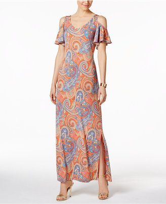 Msk Cold-Shoulder Paisley Print Maxi Dress $79 thestylecure.com