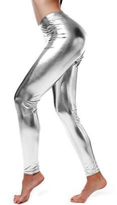 Diamondkit Women Faux Leather Leggings Wet Look Metallic Waist Legging Pants Trousers (M, )