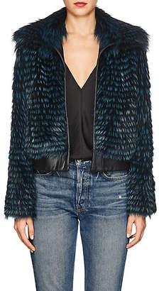 Barneys New York Women's Striped Fox Fur & Leather Bomber Jacket - Blue