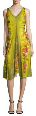 Fuzzi Farfalla Floral Printed A-Line Dress $575 thestylecure.com