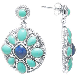 Lapis FINE JEWELRY Enhanced Turquoise and Dyed Blue Sterling Silver Medallion Drop Earrings