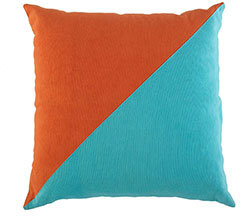 Nautical Signal Flag Accent Pillow - Teal/Orange