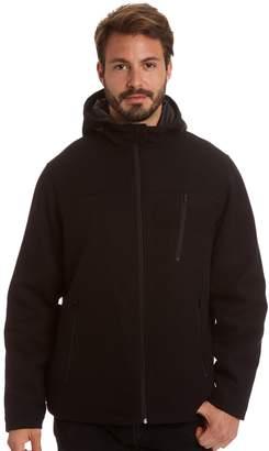 Haggar Men's Stretch Wool-Blend Hooded Open-Bottom Jacket