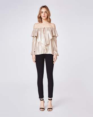 Nicole Miller Metallic Foil Off The Shoulder Ruffle Blouse