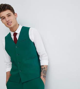 Asos Design DESIGN Tall wedding skinny suit vest in forest green