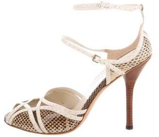 Gucci Snakeskin Cutout Sandals