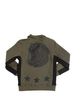 Tiger Printed Zip-Up Cotton Sweatshirt