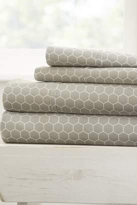 IENJOY HOME The Home Spun Ultra Soft Honeycomb Pattern 4-Piece Queen Bed Sheet Set - Gray