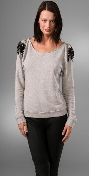 Leyendecker Pullover Top with Embellished Shoulders
