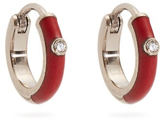 Marc Alary Diamond, Enamel & White Gold Plated Earrings - Womens - Red