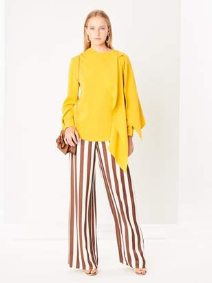 Oscar de la Renta Striped Satin Wide-Leg Pants