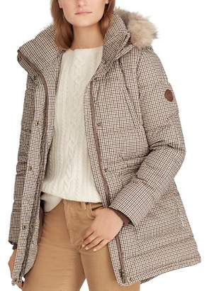 Ralph Lauren Faux Fur Trim Houndstooth Print Puffer Coat