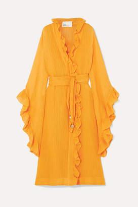 Lisa Marie Fernandez Anita Ruffled Linen-blend Gauze Wrap Dress - Orange