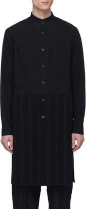 Ziggy Chen Mandarin collar herringbone stripe shirt